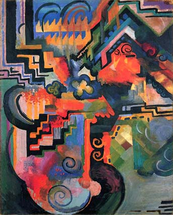Encouraged by Kandinsky, Macke experimented with abstract design