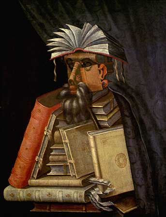 A librarian made of books