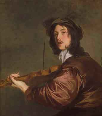 One of a series of six paintings of musicians, by Lely